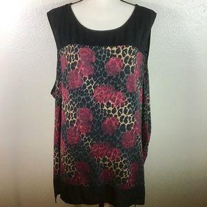 Signature Collection Rose/Cheetah Print Top